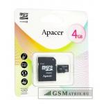 Карта памяти MicroSDHC 8GB Class 4 Apacer + SD адаптер