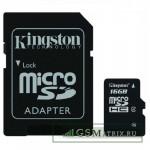 Карта памяти MicroSDHC 16GB Class 4 Kingston + SD адаптер