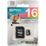 Карта памяти MicroSDHC 16GB Class 4 SiliconPower + SD адаптер