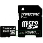 Карта памяти MicroSDHC 4GB Class 4 Transcend + SD адаптер